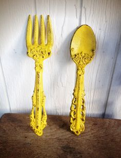 BOLD sunny canary yellow KITCHEN wall decor // ornate fork and spoon wall art // cottage country shabby chic // MODERN hand painted. $25.00, via Etsy.