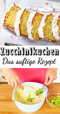 Baking zucchini cake - the best recipe - Rezeptideen - Kuchen Healthy Dinner Recipes, Healthy Snacks, Summer Recipes, Zucchini Cake, Recipe Zucchini, Good Food, Yummy Food, Southern Recipes, The Best