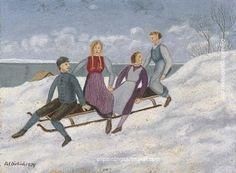 Schlittenfahrt, 1939 by Adolf Dietrich George Grosz, Figurative Kunst, Socialist Realism, Magic Realism, Political Art, Fine Art Auctions, Art Database, Naive Art, Otaku Anime