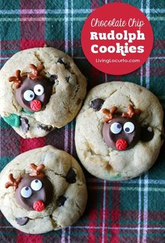 Delicious Rolo Double Chocolate Chip Christmas Cookies shaped like Rudolph the Red Nosed Reindeer! LivingLocurto.com