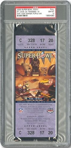 2000 SUPER BOWL XXXIV(34) FULL TICKET PSA 10 GEM MT (PURPLE VARIATION) STL RAMS
