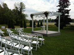 Alternate view of Wedding Ceremony Area Wedding Ceremony, Our Wedding, Wedding Venues, Pergola, Outdoor Structures, Wedding Reception Venues, Wedding Places, Outdoor Pergola, Arbors