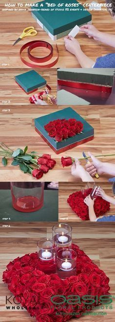 DIY Wedding Centerpieces - DIY Bed Of Roses Floating Candle Centerpiece - Do It Yourself Ideas for Brides and Best Centerpiece Ideas for Weddings - Step by Step Tutorials for Making Mason Jars, Rustic Crafts, Flowers, Modern Decor, Vintage and Cheap Ideas for Couples on A Budget Outdoor and Indoor Weddings http://diyjoy.com/diy-wedding-centerpieces #candlemakingideas #candlecenterpieces #weddingcandlesoutdoor #floatingcandles #budgetwedding #weddingdecorations