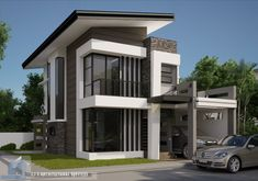 This is a beautiful luxury house designed by J.S Architectural Services. Modern Zen House, Modern Small House Design, Modern Exterior House Designs, Modern Bungalow House, Modern Minimalist House, Exterior Design, Modern Houses, Zen House Design, 2 Storey House Design