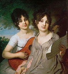1802 Princess Anna Gavriilovna Gagarina and Princess Varvara Gavriilovna Gagarina by Vladimir Borovikovskiy (State Tretyakov Gallery - Moskva Russia)