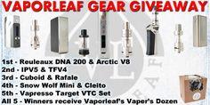 Enter to win over $1,000 worth of Vape gear from Vapor Leaf at: http://vapingcheap.com