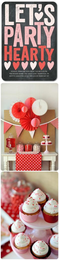 Party heart-y this Valentine's Day with themed party invites and red and white décor.