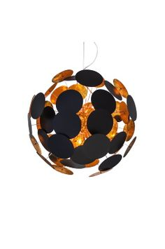 By Rydéns Loftlampe Planet Loftlampe Planet sort/guldfarvet inderside. Ø 65 cm. 6xE14 lille fatning, maks. 25W. Pærer indgår ikke, 120 cm klart kabel med wirer, loftkop i sort metal. <br><br>