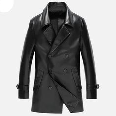 Men's Leather Jacket Coats High-end Business Leather Jacket Men Double-breasted Casual Suit jacket Leather Male Black/Red