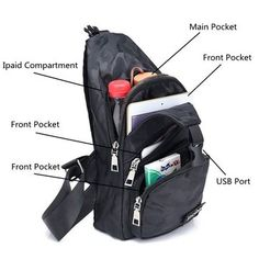 Polyester Casual Camouflage USB Port Cross Body Bag Shoulder Chest Bag For Men