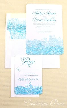 Waves Beach Wedding Invitations...could possibly do the map in similar colours and have sea underneath.