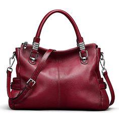 S-ZONE Women s Vintage Genuine Leather Tote Shoulder Bag Top-Handle Crossbody  Handbags Ladies bf41450e83