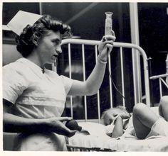 Nurse with patient, St. Louis Children's Hospital, 1956.