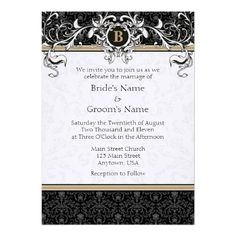 This DealsA7 Tan & Black Damask Monogram Wedding Invitesonline after you search a lot for where to buy