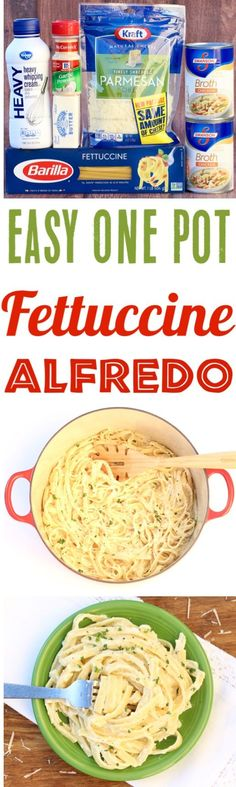 One Pot Fettuccine Alfredo Recipe! This Easy Pasta Dinner is the ultimate comfort food... simple to make, done in 30 minutes, and SO delicious! Add it to your menu this week!