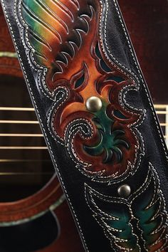 Leather guitar strap black guitar strap by EthosCustomBrands, $325.00