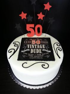 Love This Cake Design For Alexs Bday Vintage Dude Birthday Wally 50th