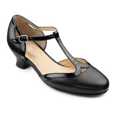 Great Gatsby 1920s Heels Shoes:  Rumba Shoes Extra Wide - Softly cushioned underfoot - Black size 3