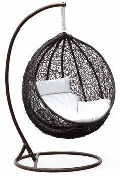Ceri Synethic Wicker Outdoor Swing Chair – Model - — This Ceri outdoor swing chair is a colorful addition to any backyard or deck. Featuring brilliant black synthetic wicker and a white cushion. My New Room, My Room, Hammock Swing, Hammock Chair, White Cushions, King Comforter Sets, Bedding Sets, Swinging Chair, Cool Chairs
