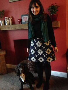 Cara's Delphine skirt, complete with dog!