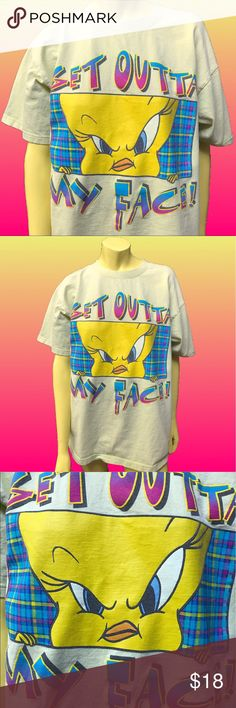 "•🐥😡 90s ""Get Outta My Face"" Tweety Shirt 😡🐥• Mad in plaid 💈🍭🖕That's one ticked off tweety 🐤🔥💥. Funky graphic font on a faint yellow backdrop. ⚠️This is so relatable ⚠️ . • Looney Tunes • 1997 • 💯% Cotton • L • . • Bust: 42"" • • Length: 27"" • . . • * • . • ✶ • . • * • . #vintage #1990's #1990s #90s #90s #loony #tunes #loony #toons #cartoon #tweety #angry #personal #space #back #off #brat #funky #plaid #yellow #novelty #nostalgic #streetwear #street #oversized #spellout #graphic…"