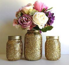 golden yellow mason jars golden glitter 3 piece by PinKyJubb