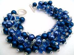 Royal Blue Pearl Beaded Bracelet, etsy.com