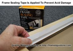Frame Sealing Tape is applied to the frame rabbet to prevent acid from migrating from the wood frame to the art and mats inside the frame. Not all picture framers use frame sealing tape. We use it as part of our conservation framing practices designed to prolong the life of anything we frame. This is all part of quality military framing. #guidons #framedguidons #militaryframing #guidonframing