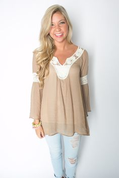 Crochet Trim Woven Top in Taupe – Deep South Pout