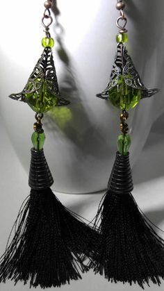 Witch earrings Halloween earrings Goth earrings tassel Halloween Earrings  Diy b456e152a34d
