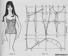 2. Цельнокроеный купальный костюм с втачными чашечками - Женское бельё и купальные костюмы - Раскрой и шитье женской одежды - Всё о шитье - Шей сама
