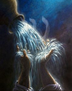 Living water being poured out of vessel. Prophetic art painting.
