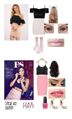 """""""Steal Her Outfit"""" by cvillaltameza ❤ liked on Polyvore featuring L'Atiste, Topshop, Public Desire, Coleman, Nina Ricci, ALDO, OPI and Pink"""