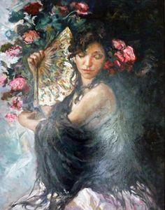"""Original Painting """"El Manton Negro"""" by  Royo"""