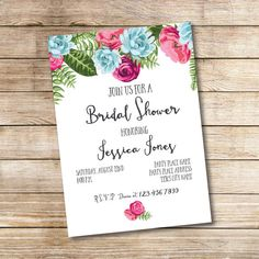 Beautiful Floral Bridal Shower Invitation  - It is printable
