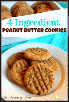 The Mandatory Mooch: 4 Ingredient Peanut Butter Cookies {gluten free} Gluten Free Peanut Butter Cookies, Chocolate Peanut Butter Cookies, Healthy Cookies, Cookie Recipes, Dessert Recipes, Desserts, Easiest Cookie Recipe, Paleo Dessert, Candy Recipes