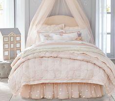 Monique Lhuillier Upholstered Camelback Bed & Headboard   Pottery Barn Kids