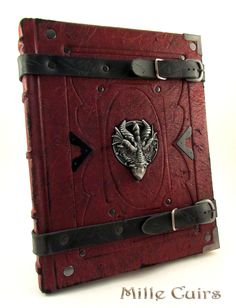 Antique red leather dragon book
