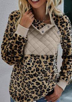 Fuzzy Pullover, Turtleneck Sweatshirt, Leopard Print Cardigan, Fashion Prints, Fashion Styles, Types Of Sleeves, Sweatshirts, Long Sleeve, Clothes