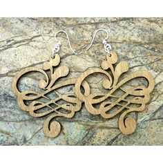"""Green Tree Jewelry Small Calligraphy Earrings. GTU1189 Features: Laser cut earrings Made from a very thin strong multi layered wood All earring findings are silver-plated surgical steel and nickel-free for sensitive ears Color/Finish: Coloring is stained into the wood with a non-toxic natural dye Dimensions: Dimensions: 1.5"""" H x 1.4"""" W. Price: $16.99"""
