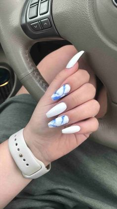 White and blue marble coffin nails ring finger nails, dope nails, cute nail designs Marble Acrylic Nails, Summer Acrylic Nails, Acrylic Nail Designs, White Nail Designs, Acrylic Gel, White Acrylics, Colourful Nail Designs, White Acrylic Nails With Glitter, Pastel Nails