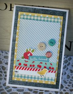 Hello friend card danni reid, I love the texture combo, gingham, dots, lines, denim..