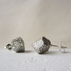 Affordable holiday jewelry: glitter rock studs for just $28