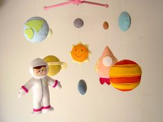 "Baby crib mobile, astronaut mobile, space mobile, universe mobile, nursery mobile ""Planet"""