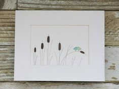 Pebble Art Love Birds & Cattails Made of sea glass and beach pebbles! Comes in a black wooden frame with glass and is ready for wall or tabletop display! Frame measures about 11x9 and is matted to 6.5x4.5 Thanks so much for looking!:) #seaglassart