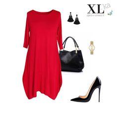7d4b0d143e07f Czerwona sukienka rozkloszowana z kolekcji plus size. Moda xxl w sklepie XL -ka.