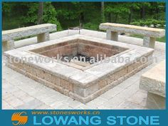 outdoor fire pit with limestone benches