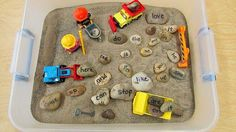 Use with letters instead of sight words. Sight word stones in a sand table with construction equipment ~ Love this free idea from Carolyn Kisloski! Kindergarten Sensory, Kindergarten Reading, Teaching Reading, Kindergarten Projects, Kindergarten Centers, Learning, Sensory Table, Sensory Bins, Literacy Activities