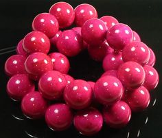 10mm Bright Rose Pink Fossil Stone Round Beads  by BlackrockBeads