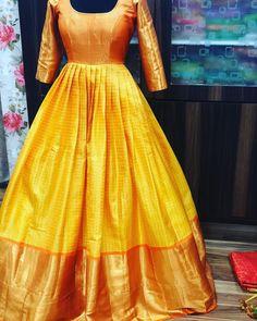 Kanjeevaram the heavenly silk . Kanjeevaram the heavenly silk . Indian Gowns Dresses, Indian Fashion Dresses, Indian Designer Outfits, 50s Dresses, Wedding Dresses, Long Gown Dress, Saree Dress, Silk Dress, Long Frock